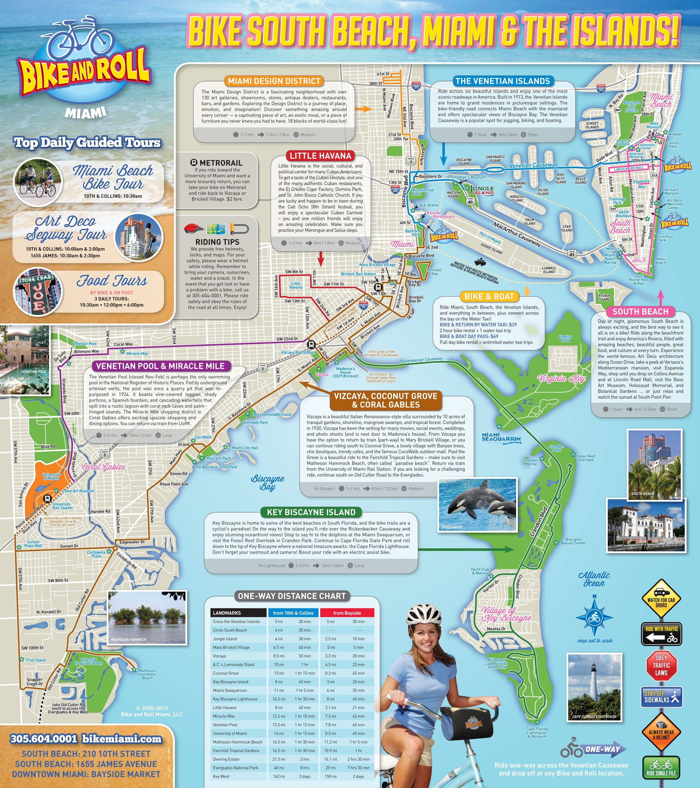 self guided bike tour map of miami beach - google search