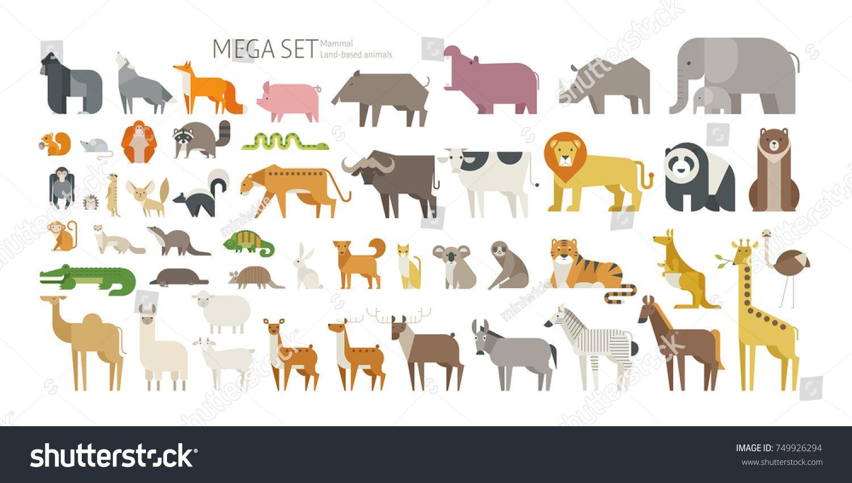 Animal Mega Set Side View Pose Mammal Land Based Wildlife Animals Geometric Vector Illustration Flat De Geometric Vector Wildlife Animals Vector Illustration