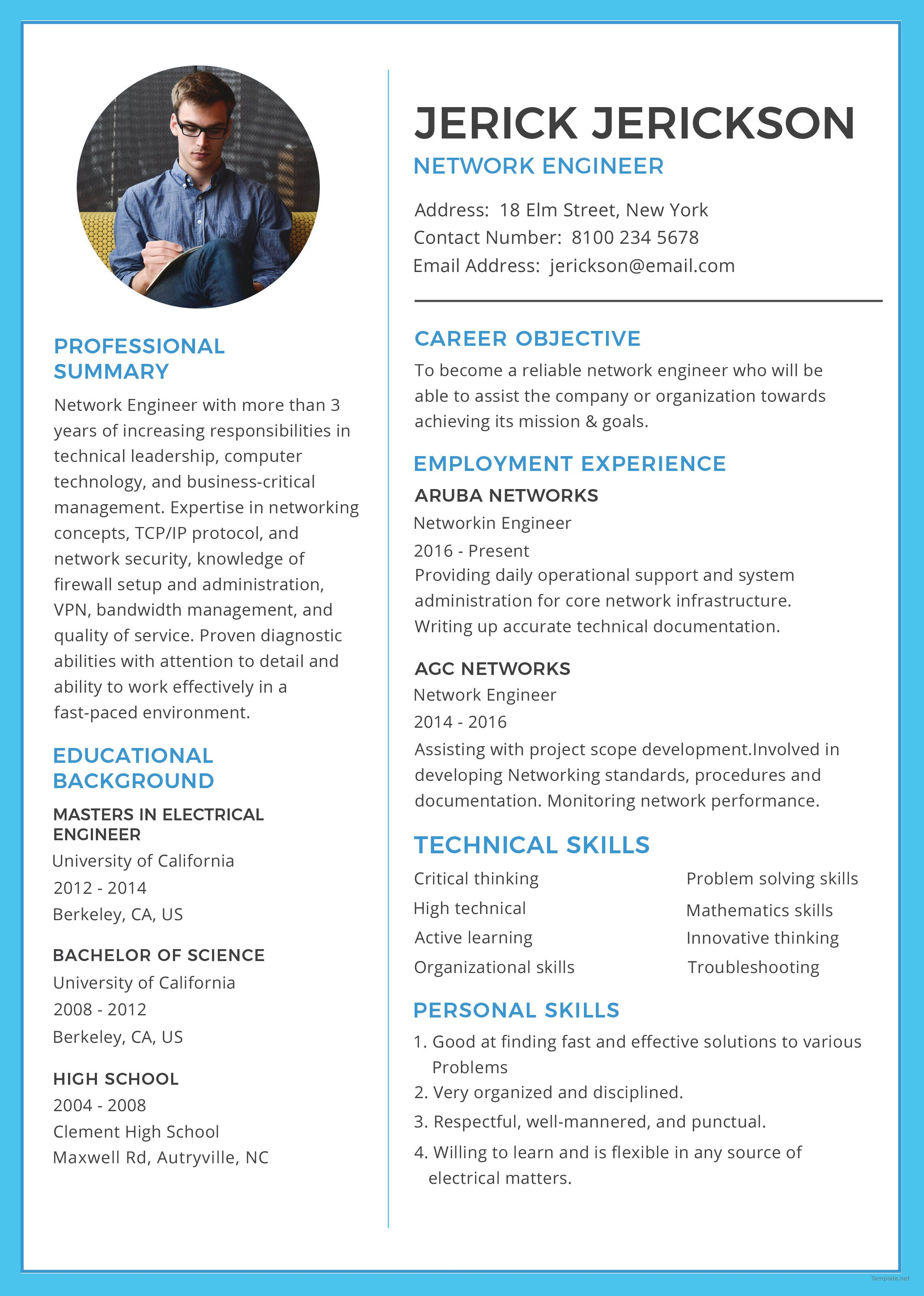 Free Basic Network Engineer Resume Cv Template Word Doc Psd Indesign Apple Mac Pages Illustrator Publisher