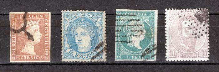 Spanje 1850/1872 - veel klassieke postzegels-Edifil No. 3 46 112 120  EUR 25.00  Meer informatie