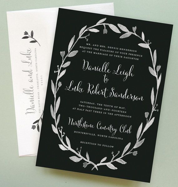 Any Color Chalkboard Wedding Invitation With Floral Wreath Border
