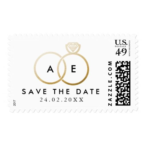 Modern Golden Wedding Rings Save the Date Stamp Weddings and