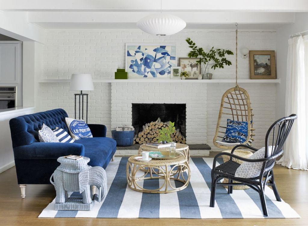 casual and beautiful living room blue and white and neutral Living