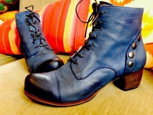 Gidigio Handmade Navy Blue Leather Ankle Boots Nautica Studs Zip High Heel 38.5 #gidigio #FashionAnkle