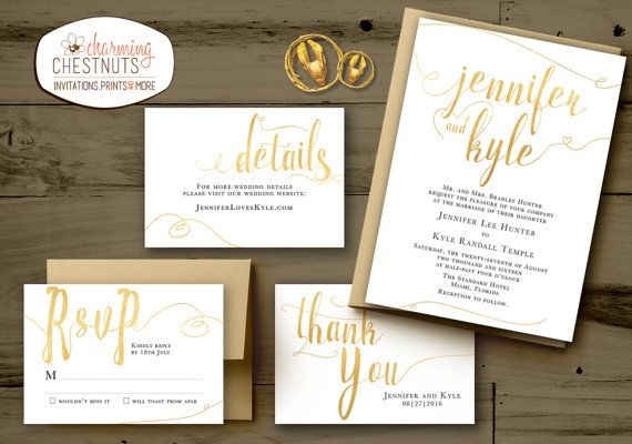 WHITE and GOLD Wedding Invitations Set, Classic gold, Printable