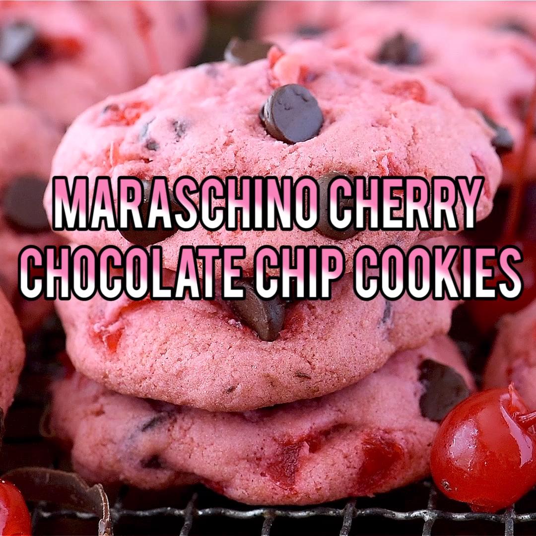 Maraschino Cherry Chocolate Chip Cookies #chocolatechipcookies