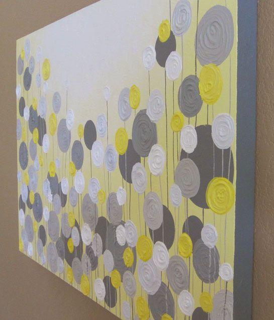 Mustard Yellow And Grey Wall Art Textured Painting Abstract Flowers Acrylic Painting On Canvas Made To Order
