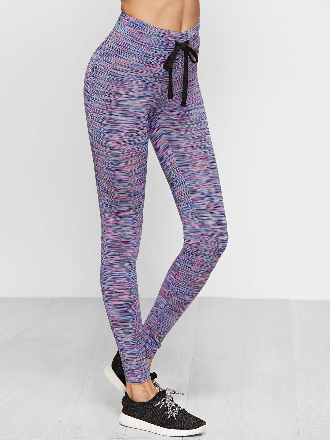 dd18ba6c74e Women Sporty Regular Multicolor Crop Length Space Dye Drawstring Waist  Leggings