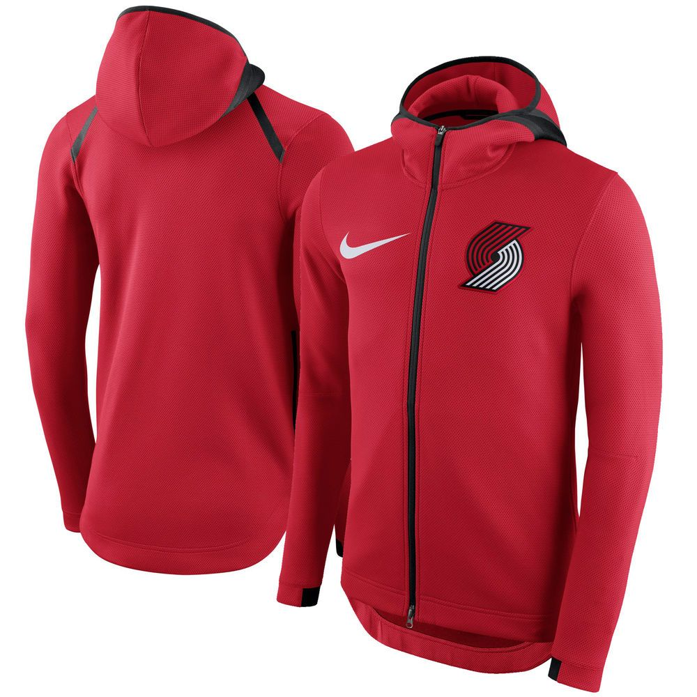 Men S Portland Trail Blazers Nike Red Therma Flex Showtime Full Zip Hoodie Hoodies Hooded Sweater Coat Basketball Clothes