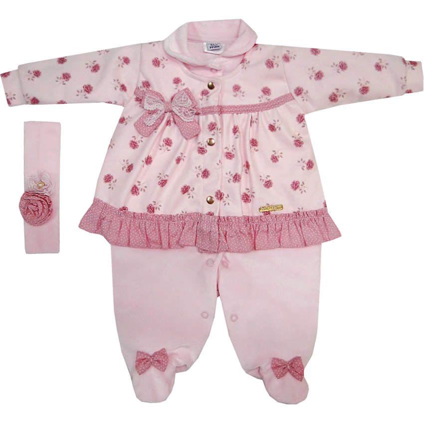 Macacão Bebê Menina em Plush e Soft com Faixa de Cabelo Rosa - Sonho Mágico     764 Kids  1f671c28a9c