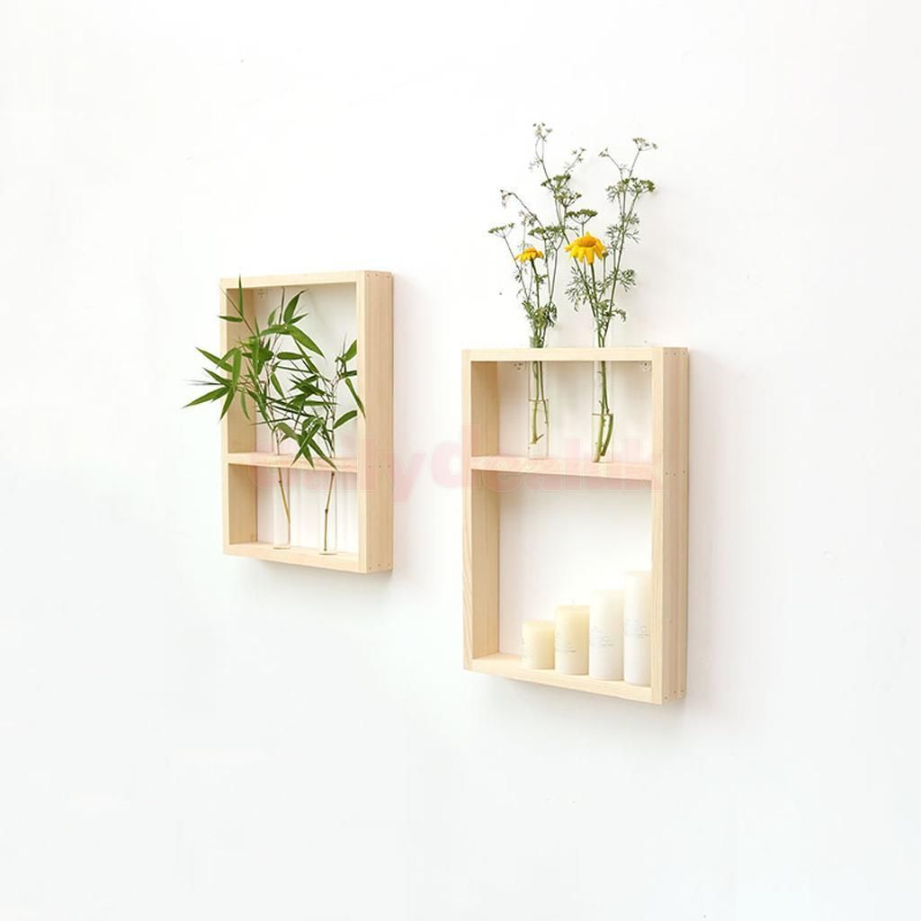 Home Decorating Styles Quiz: Wall Hanging Clear Glass Test Tube Flower Vase In Wooden