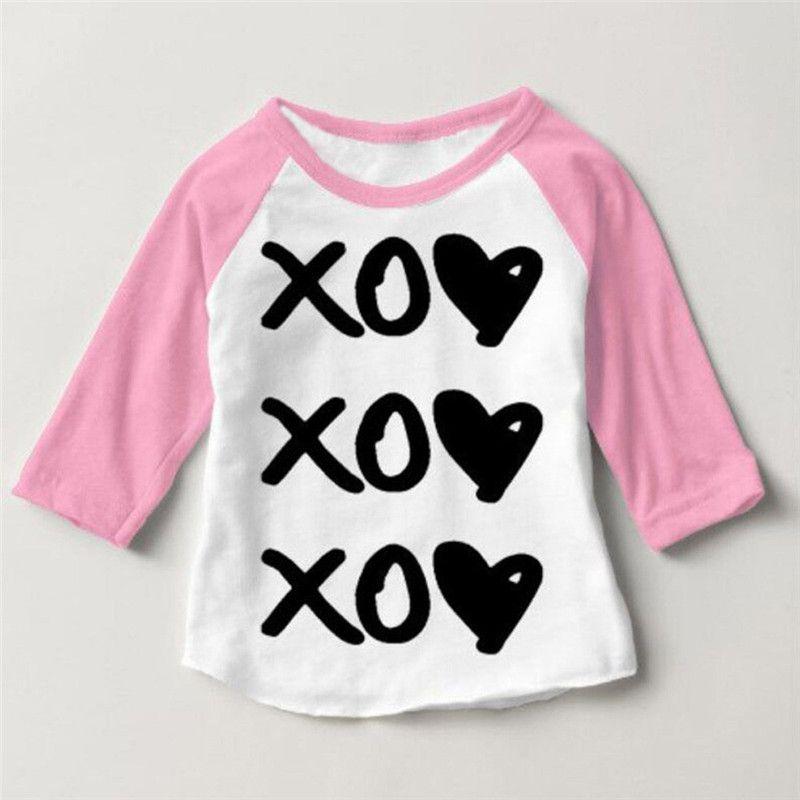 4ef37ca84e17d Cute Newborn Baby Kids Boys Girls Causal Long Sleeve Print T-Shirt Top  Blouse Outfits