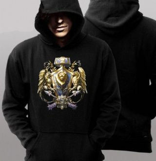 Black World of Warcraft hoodie printed alliance plus size fashion mens clothing