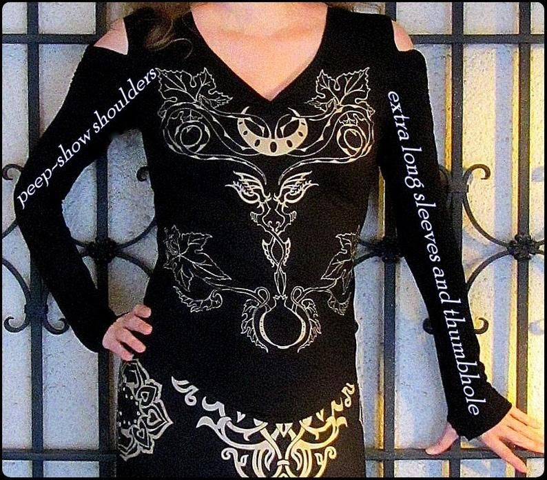 Witchy Women's Pagan goddess Shirt Snakes Vines | Etsy