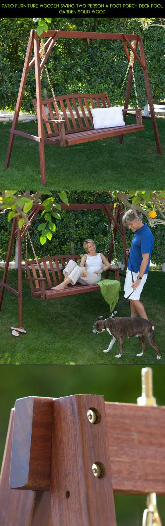 Patio furniture wooden swing two person foot porch deck pool
