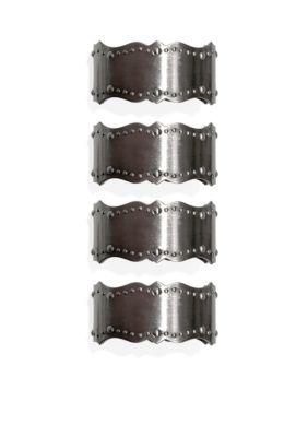 Lenox Brass French Perle Napkin Rings- Set of 4