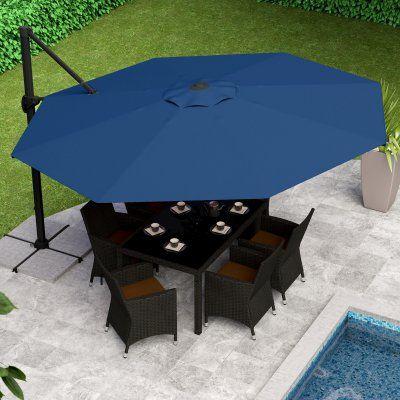 Corliving 11 5 Ft Deluxe Offset Patio Umbrella Orange In