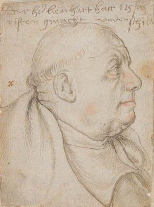 Hans Holbein den Ældre, Portræt af skriveren Leonhard Wagner, kaldet Würstlin, munk af Skt. Ulrich og Skt. Afra i Augsburg (Augsburg, 1514-15, Statens Museum for Kunst, København).