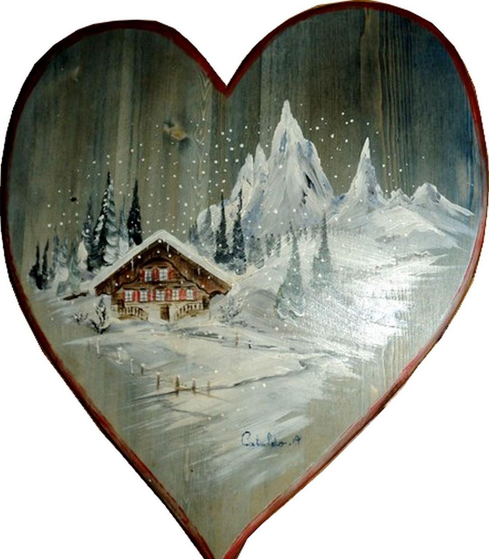 tableau paysage de montagne le chalet sous la neige peintures par peinture chalet montagne. Black Bedroom Furniture Sets. Home Design Ideas