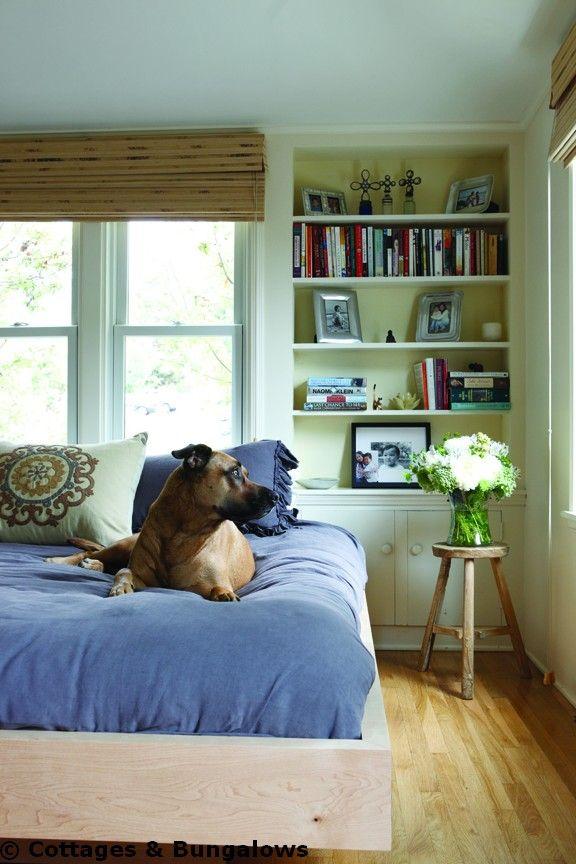 pretty bedroom, #bamboo #blue #bookshelves