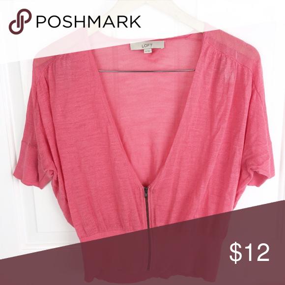 Loft pink short sleeve cardigan Loft / pink short sleeve cardigan ...