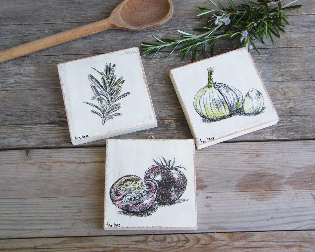 Food art miniature paintings set of rustic kitchen decor