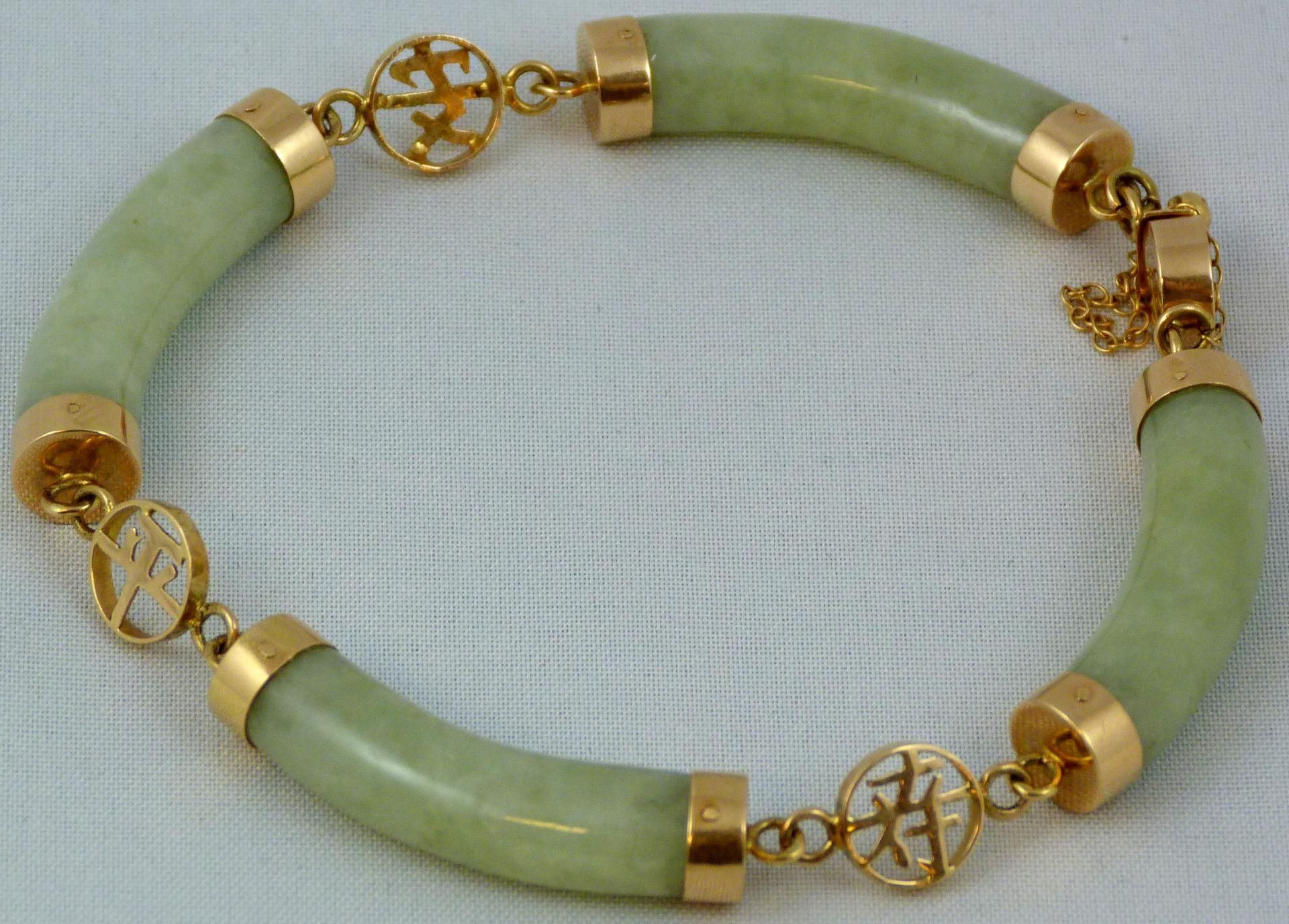Jade Bracelet Set In Yellow Gold With