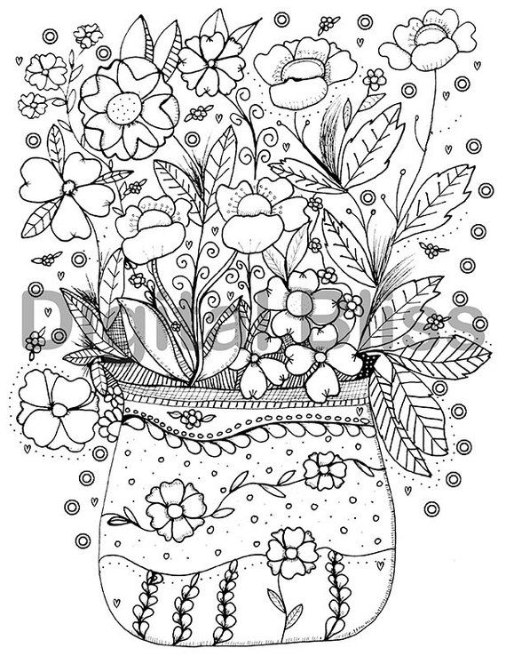 Adult Coloring Page, Instant Download Design Colouring Page, Flowers ...