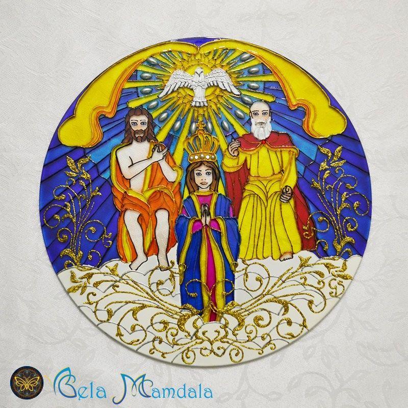 Mandala Divino Pai Eterno Feita A Mao Com Tinta Relevo E Verniz
