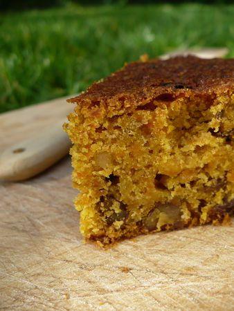 Gâteau aux carottes, épices, noix et raisins (pour un moule rond de 26 cm de diamètre) - Ingrédients: carottes finement râpées (300 g), beurre doux (150 g), sucre (200 g), oeufs (2), farine (200 g), levure chimique (3 cuill.à café), canelle en poudre (1 cuill. à café), noix de muscade rapée (1/2 cuill. à café), raisins secs (80 g), noix hachées (50 g).  -  P1020483