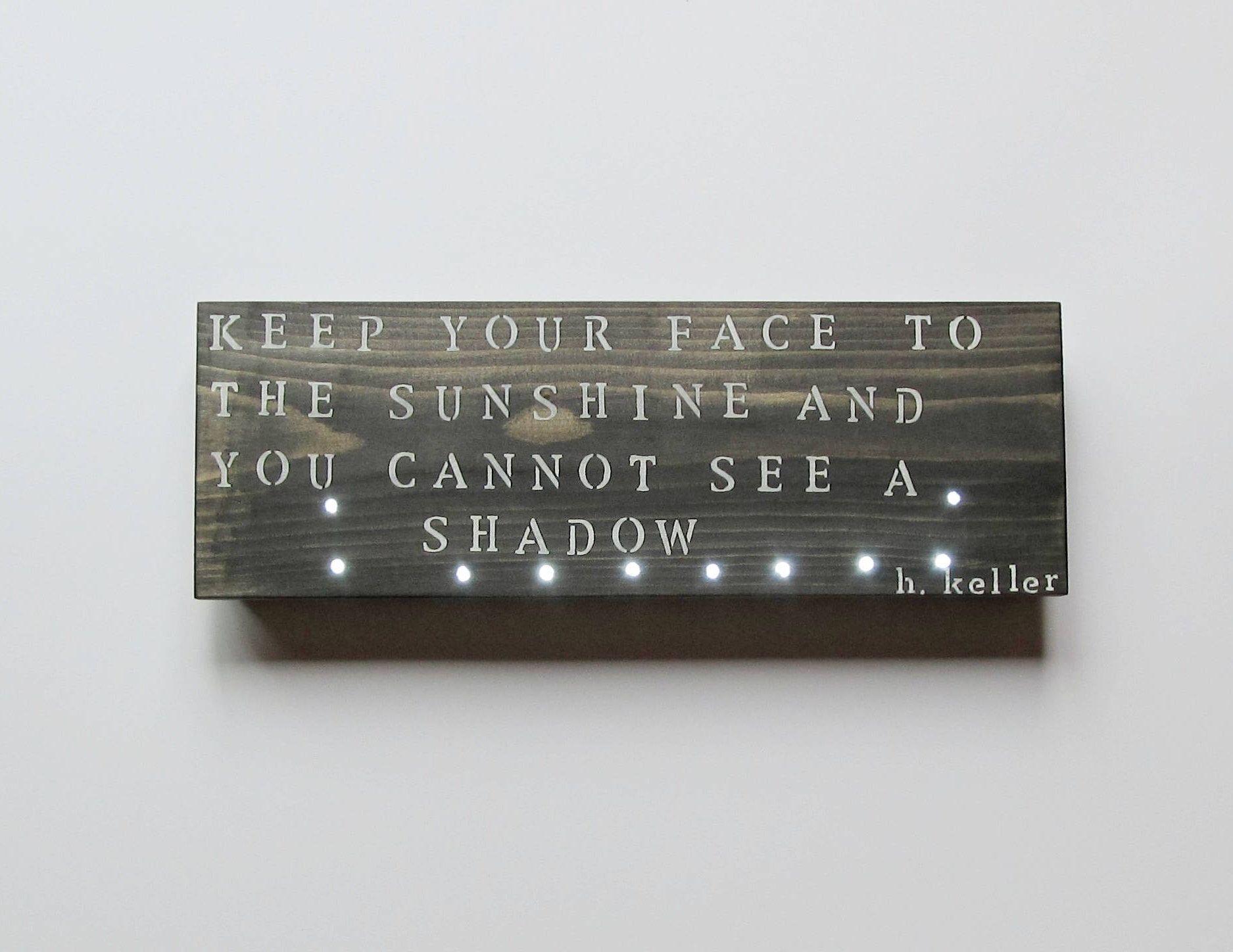 Wood wall light helen keller quote inspirational wall art custom