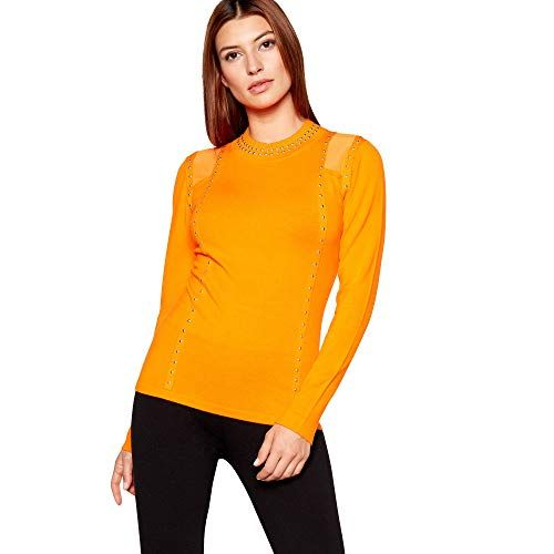 81d0928ee52 Debenhams Star by Julien Macdonald Womens Orange Knitted Stud Trim Jumper 10