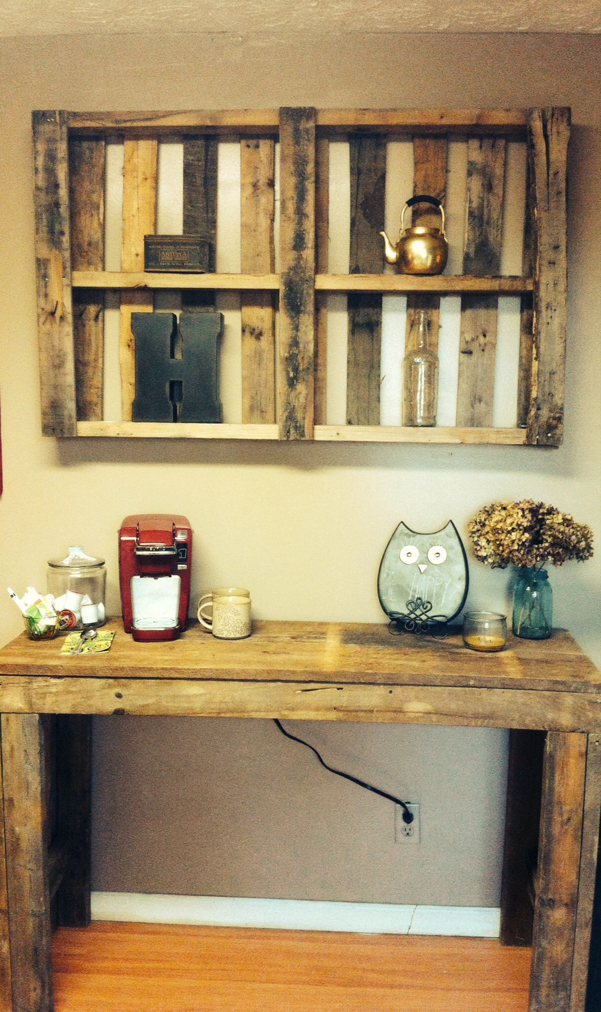 Ben built this coffee bar and we just used an old pallet ...