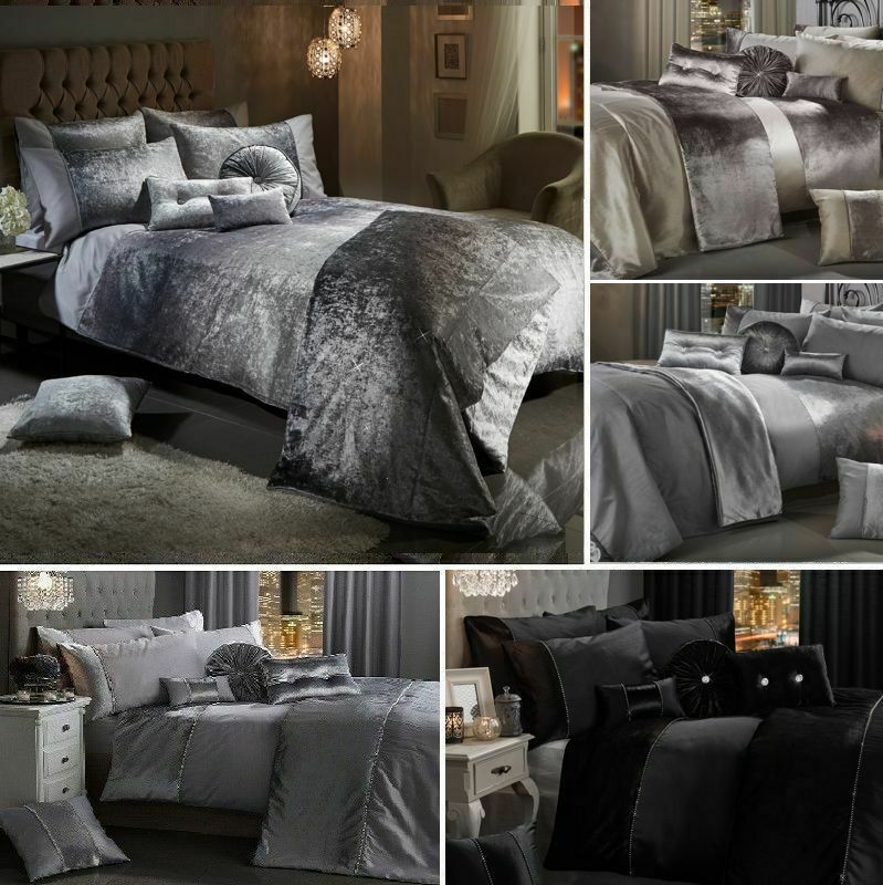Best Details About Luxury Crushed Velvet Duvet Cover Set Quilt 400 x 300