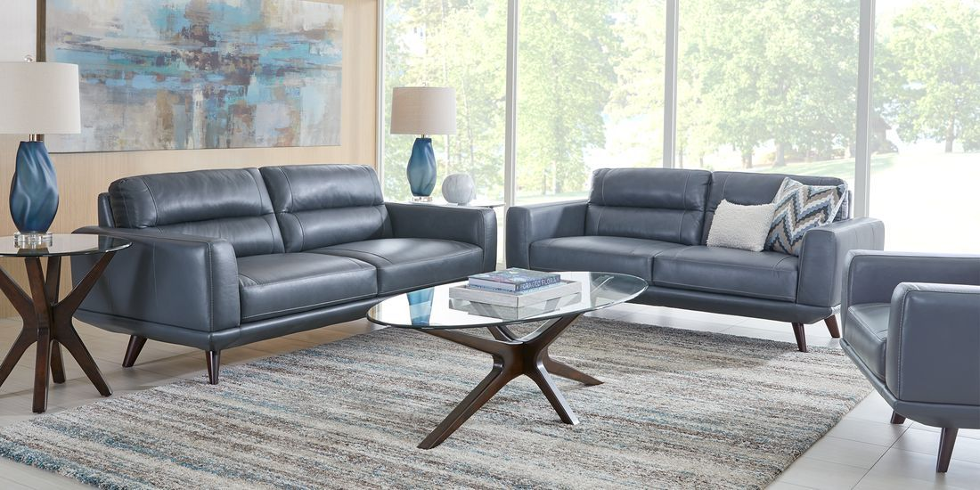 Sofia Vergara Capistrano Blue Leather 6 Pc Living Room Rooms To Go In 2020 Leather Living Room Set Living Room Sets Furniture Living Room Sets
