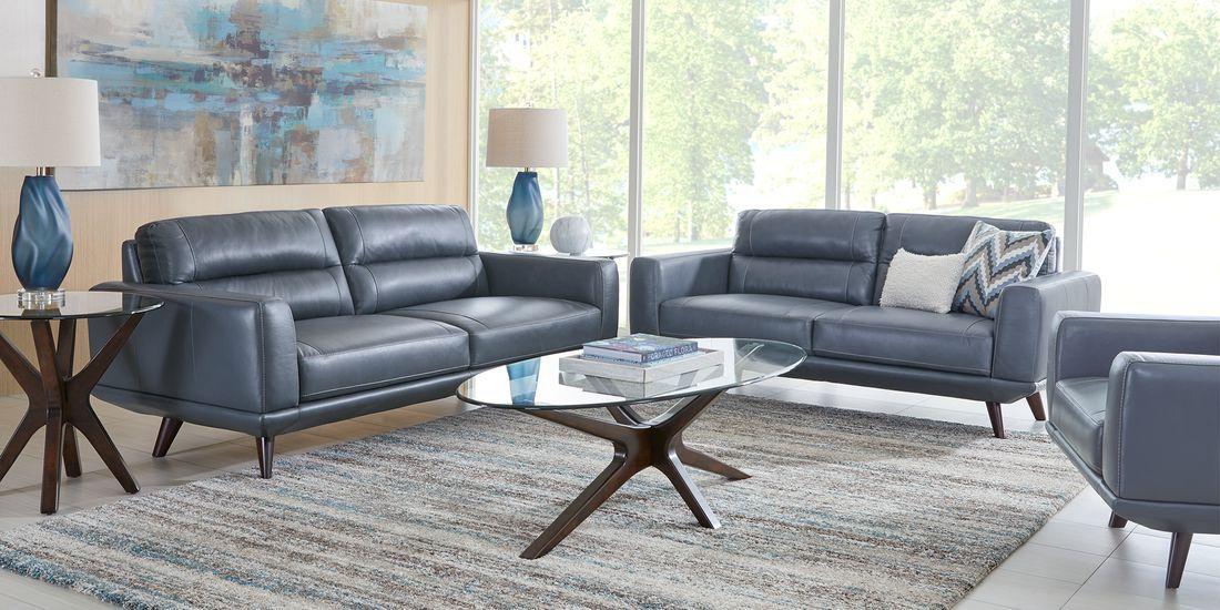 Sofia Vergara Capistrano Blue Leather 6 Pc Living Room Rooms To