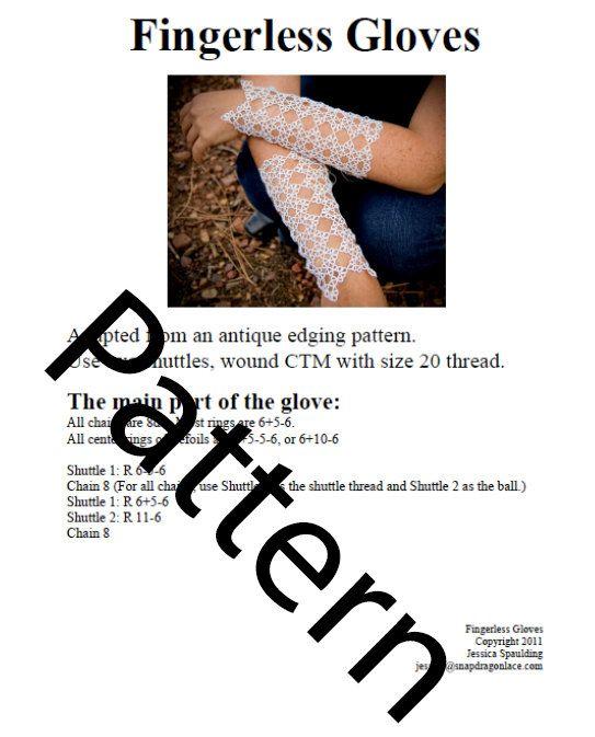 Tatting pattern | Tatting | Pinterest | Guantes, Mitones y Encaje