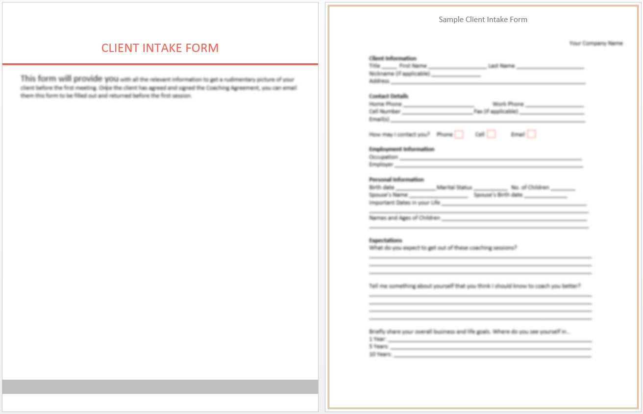 Client Intake Form Screenshot