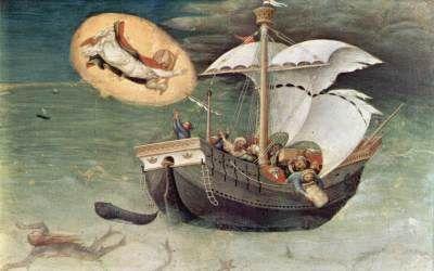 Gentile da Fabriano - Polittico Quaratesi: San Nicola salva una nave dalla tempesta (predella) - 1425 - Pinacoteca, Vaticano