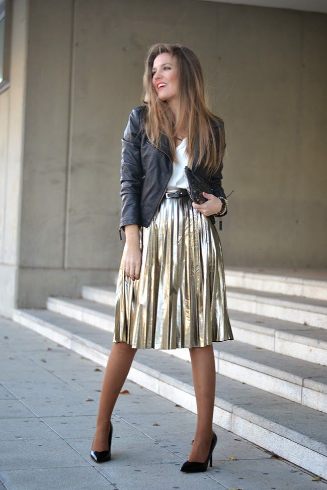SILVER PLEATED MIDI SKIRT (Mi aventura con la moda) | Skirts ...
