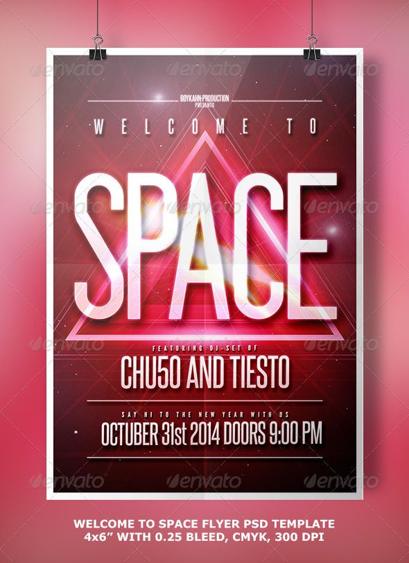 Welcome To Space Flyer Flyer Template Template And Music Flyer