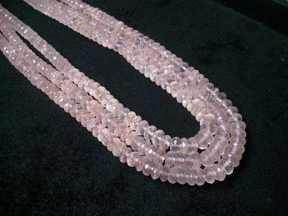 3-4mm Beads Rose Quartz Faceted Rondelles Pink Rose Quartz 5 Strands WHOLESALE Rose Quartz Beads Rose Quartz Necklace 14 Inch Strand