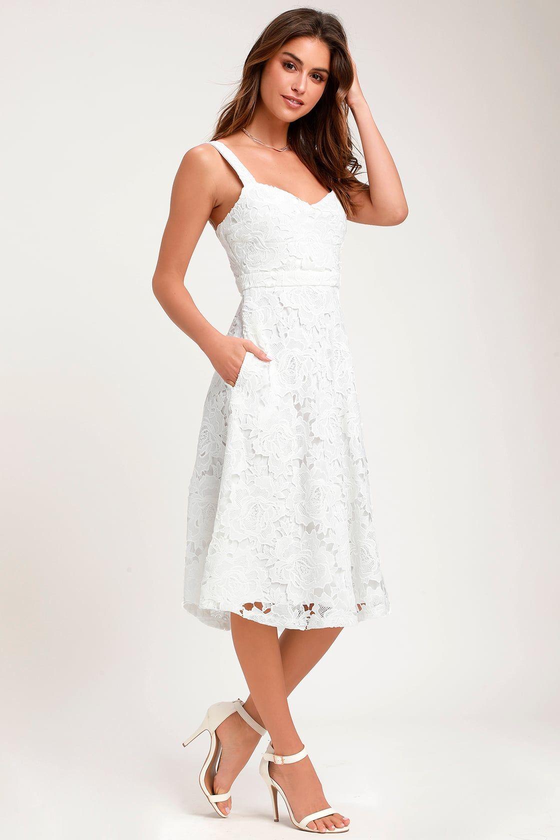 Lulus | Divine Beauty White Lace Midi Dress | Size Large | 100% Polyester -   17 white dress Midi ideas
