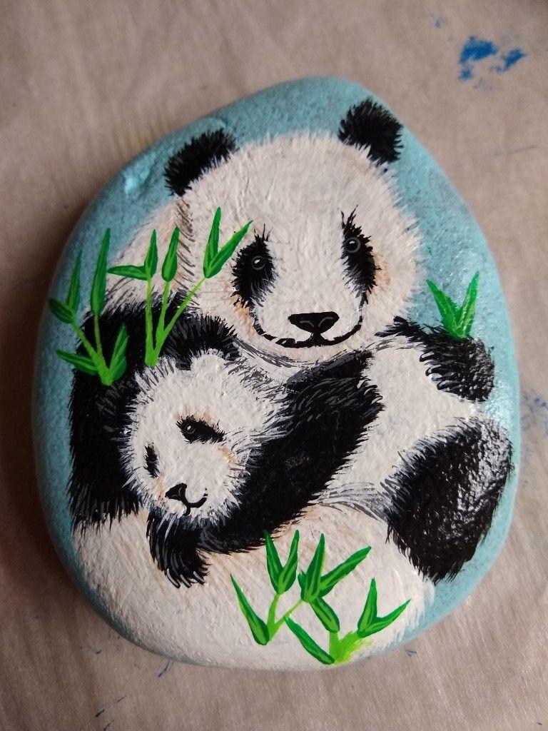 Pandas Painted Rock Panda Painting Painted Rocks Painted Rock Animals