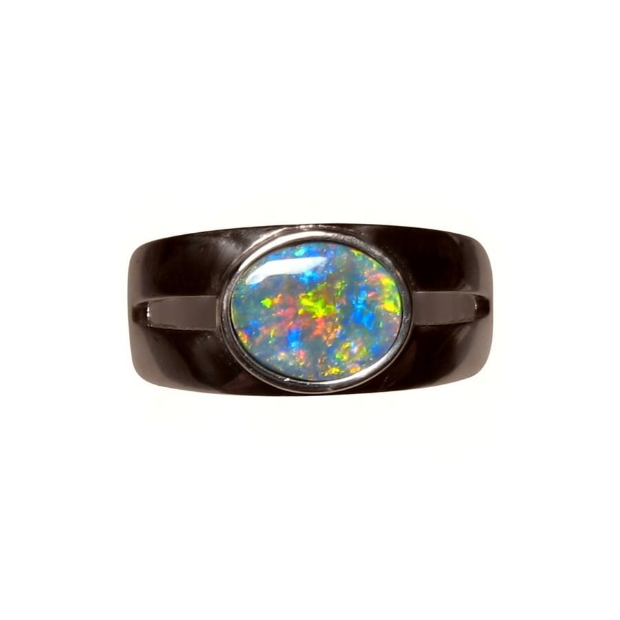 Mens Black Opal Ring 14k Gold Wide Band Black opal Opal rings and