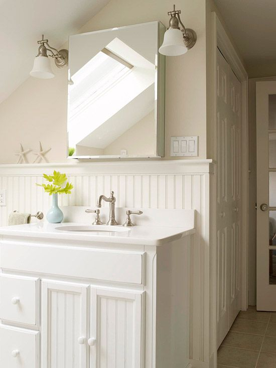 Bathrooms Sloped Ceiling Light Mocha Walls Beadboard Backsplash White Single Bathroom Vanity Brushed Nickel Sconces Faucet Kit Blue Vase Cot With Images Beadboard Bathroom