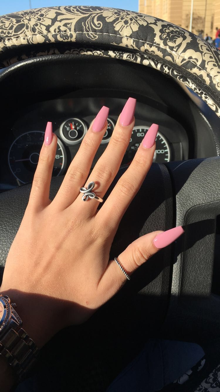 Pink Coffin Nails In 2020 Winter Nails Acrylic Pink Acrylic Nails Acrylic Nails