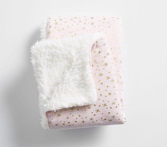 Metallic Star Sherpa Baby Blanket Pink Baby Blanket