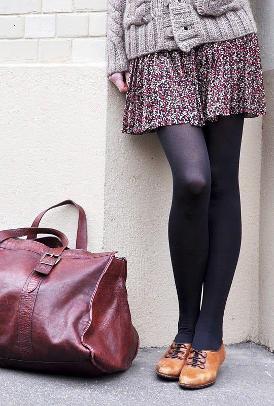 {inspiration} chunky sweater + floral skirt/dress + black tights + oxfords = winter uniform