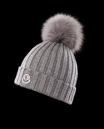Moncler Grey Hat With Pom Pom